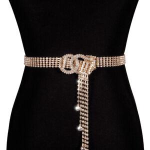 Fashion Women Shiny Belt Waist Chain Crystal Diamond Waistband Luxury Party Belt