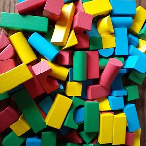 Melissa and Doug Classic Toy 100 Wooden Blocks- Bright Colors Building Blocks