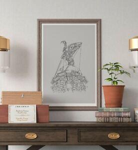 Liver Bird Building Liverpool Print - Original Outline B&W Art Print Poster