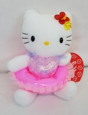 "Sanrio HELLO KITTY Pink BATHING BEAUTY 6"" Plush Bean Bag Doll w Swim Ring NEW"