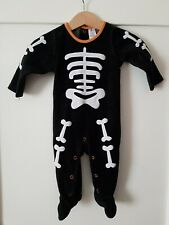 Hallowen Skeleton Velour All-in-one 3-6 Months Embroidered