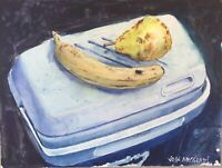 "Watercolor Original Painting Lunch Box Cooler 12"" x 9""  NOT A PRINT"
