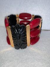 Chunky Large Black Red Carved Vintage Stretch Plastic Designer High End Bracelet