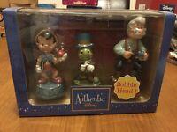 Disney Pinocchio Trio Bobble Head Figurines X3 New Collectable Rare Retired