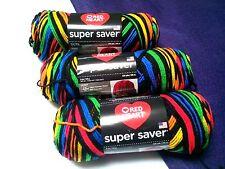 NEW Red Heart Super Saver Yarn 3 - 5oz Skeins Same Dye Lot PRIMARY STRIPES
