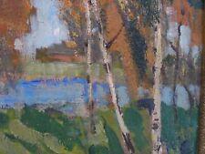 Russian Oil on Board Circa 1930-40 Landscape With Pond
