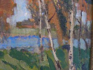 Post Impressionist Oil on Board Circa 1930-40 Landscape With Pond
