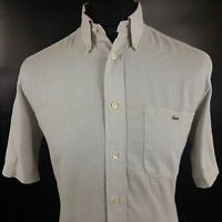 Lacoste Mens Shirt 40 MEDIUM Short Sleeve Grey Regular Fit  Cotton