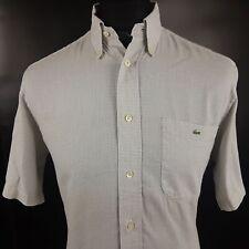 Lacoste Mens Shirt 40 MEDIUM Short Sleeve Grey Regular Fit  Cotton
