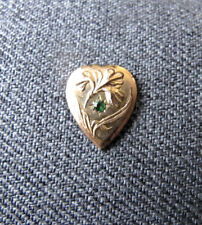 gold filled heart applique finding Antique green rhinestone flower & leaves