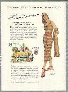 1947 FRAZER & KAISER advertisement, clothing designer TINA LESER