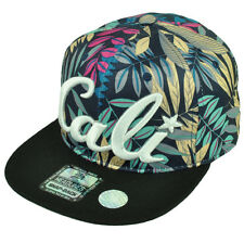 Cali California Hawaiian Floral Crown Black Flat Hat Cap Snapback Satin Aqua