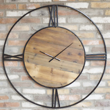 Wall Clock Extra Large Round Industrial Style Quartz Roman Numerals Analogue New