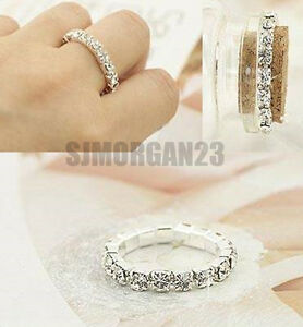 Crystal Zircon Ring  Or Thumb Ring - Fully Adjustable Two Widths  Women Girls