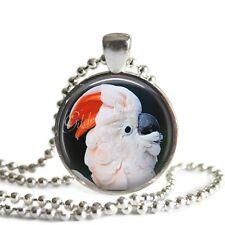 MOLUCCAN COCKATOO EXOTIC BIRD PARROT Glass Bezel Altered Art Pendant Necklace