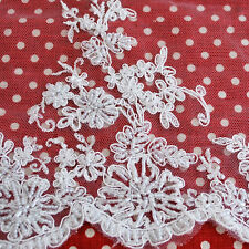 2.5 Meters Hand Beaded Floral Bridal Dress Tulle Lace Fabric - Off White