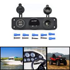 12V Dual Port Usb Charger Socket Car Boat Blue Led Voltmeter 3 Hole Panel Outlet(Fits: Kia)