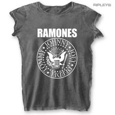 Official Skinny T Shirt RAMONES Acid Wash Classic Seal Logo Burnout All Sizes