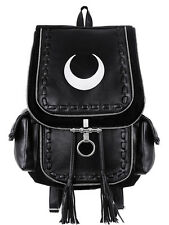 Restyle Gothic Witch Crescent Moon Embroidered Black Denim Backpack - White Moon