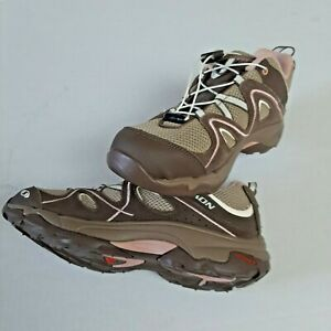 Salomon Hiking Shoes, Women's size 5, Color Brown and Pink.