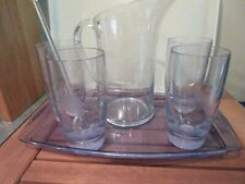 STARBUCKS 2004 Iced Tea Set WITH TRAY & 4 TUMBLERS HOT OR COLD