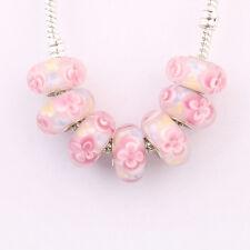 5/20Pcs Porcelain Murano Big Hole Lampwork Glass Beads Fit Charm Bracelet Gift