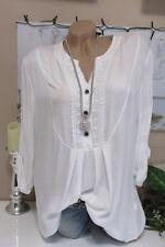 Camisa Blusa Extra Grande Ganchillo VINTAGE Pescador Blanco Túnica Camiseta 38