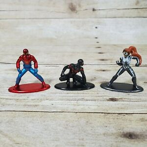 Superhero Metalfigs Kid Arachnid, Spiderman, SpiderGirl Jada Die Cast Nano Figs