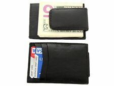 Leather Slim Design Magnetic Money Clip 3 Credit Card Holder Black Men's Wallet