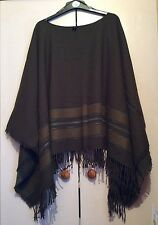 Zara Khaki Green Fringed Poncho M  Wool Mix Boho Hippie Festival Wrap Shawl