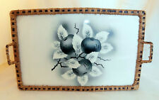 German-Early 20th Century-Blue & White Fruit Design Earthenware & Wicker Tray