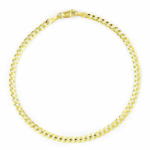 10K Yellow Gold 2.5MM Womens Cuban Curb Polish Link Chain Bracelet Anklet 8""