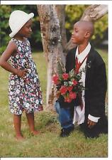African American Boy and Girl Flowers 5 Notecards Blank Cards Envelopes 1998