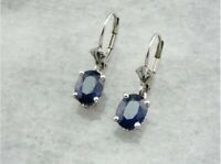 2Ct Oval Blue Sapphire Women's Leverback Drop Earring 14K White Gold Over Silver