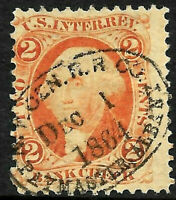 """Railroad DEC 1 1864"" Proprietary Date Cancel SON 2 Cent Revenue US 67B15"