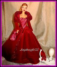 Beautiful Ruby red velvet winter dress for model muse silkstone Barbie