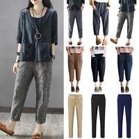 USA Women Casual Loose Harem Pants Elastic Waist Linen Baggy Trousers Plus Size