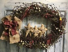 18 Inch Primitive Country Grapevine Puffy Star Wreath