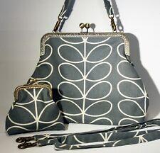 Orla Kiely Handbag & Purse Set 60s 70s retro handmade bag Linear Stem Cool Grey