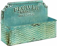 Col House Vintage Blue Flower Market Metal Basket - Farmhouse Rustic Decor