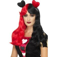 Queen Of Hearts Wig Red Black Two Tone Long Ladies Fairytale Fancy Dress