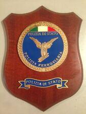 """Crest in legno POLIZIA DI STATO """"POLIZIA FERROVIARIA"""" crest of wood dorato"""