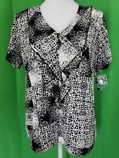 RQT Black & White Short Sleeve Ruffled Blouse - Size Small - New