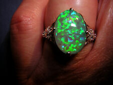 Opal Ring funkelnder grüner Feueropal in 925 Sterling Silber Opal 15 x 10 mm