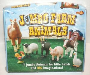 Jumbo Farm Animals - 7 Jumbo Animals by Learning Resources, NEW, BOX HAS DENT