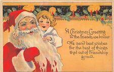 F64/ Santa Claus Merry Christmas Postcard c1910 Child Candles  1