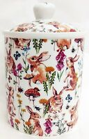 Rabbit Meadow Canister Fine Bone China Ceramic Storage Jar Hand Decorated UK