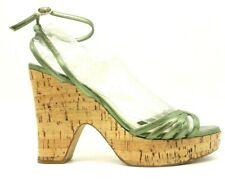 Dior Green Metallic Leather Buckle Cork Print Block Heels Women's 39.5 / 9.5