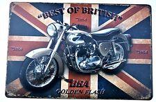 BSA MOTO - GOLDEN FLASH LATTA IN METALLO SEGNI vintage pub