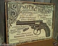 Smith and Wesson Government Contracts Tin Metal Sign Revolvers Classic Vintage